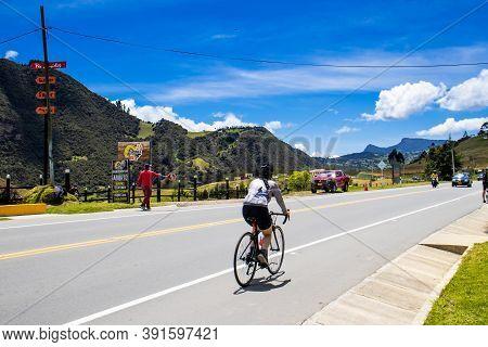 La Calera Colombia - October, 2020:  View Of The Famous Alto De Las Arepas A Well Known Rest Place F