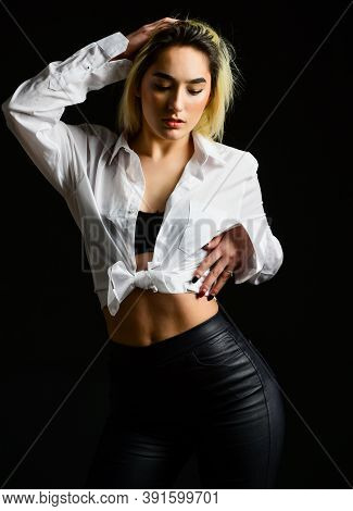 Sexual Fetish Concept. Portrait Of Sexy Woman On Black Background. Wearing His Shirt. Perfect Body S