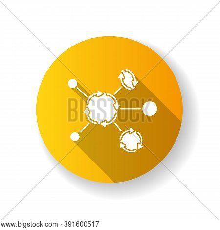 Synergetic Network Yellow Flat Design Long Shadow Glyph Icon. Business Collaboration. Communication