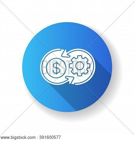 Cost Synergy Blue Flat Design Long Shadow Glyph Icon. Business Financial Operation. Enterprise Profi
