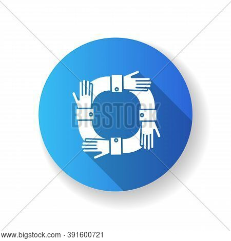 Operating Synergy Blue Flat Design Long Shadow Glyph Icon. Business Cooperation. Work Collaboration.