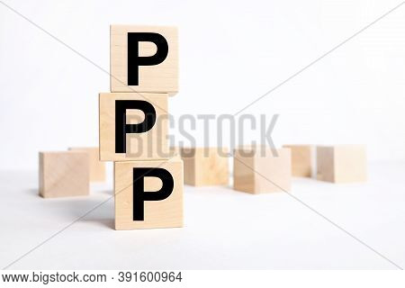 Ppp - Praise Picture Push Concept On Cubes. On A Light Background