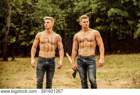 Dedicated To Fitness. Twins Muscular Men With Axe. Athletic Man Use Ax. Double Force Power. Masculin