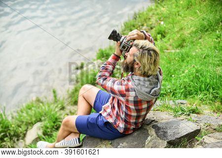 Photographer Concept. Photographer Amateur Photographer Nature Background. Content Creator. Masterpi