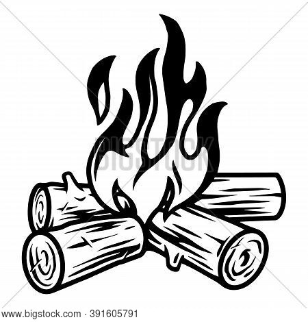 Campfire Vintage Tattoo Template In Black And White Colors Isolated Vector Illustration