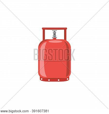 Icon Of A Flammable Red Gas Cylinder A Flat Cartoon Isolated Vector Illustration