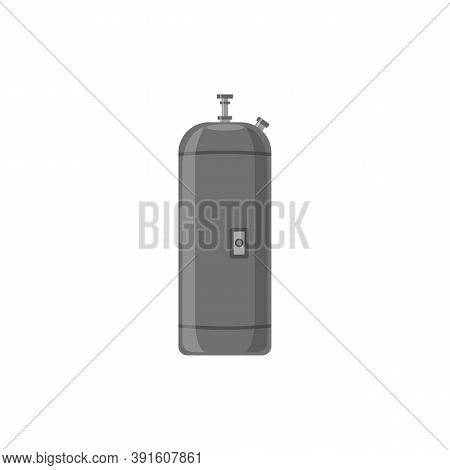 Oblong Gas Cylinder Or Tank For Industrial Gas Flat Vector Illustration Isolated.