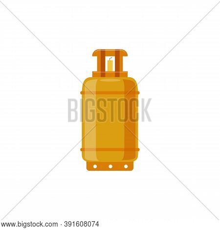 Compressed Gas Yellow Cylinder, Flat Cartoon Vector Illustration Isolated