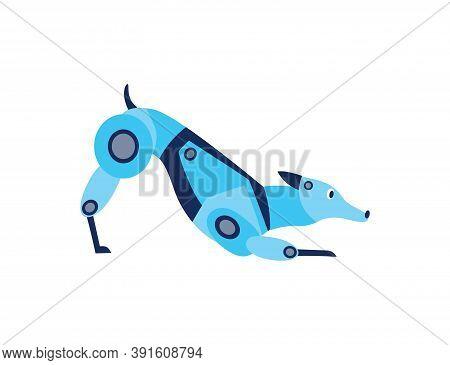 Blue Electronic Robot Dog Kneeling, Flat Cartoon Vector Illustration Isolated