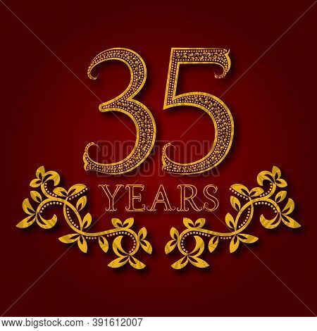 Thirty Five Years Anniversary Celebration Patterned Logotype. Thirty Fifth Anniversary Vintage Golde