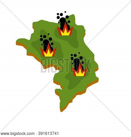 War In Nagorno-karabakh. Map Of Conflict. Bomb Blast And Bombardment. Infographics And Caucasus Cris