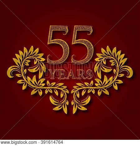 Fifty Five Years Anniversary Celebration Patterned Logotype. Fifty Fifth Anniversary Vintage Golden