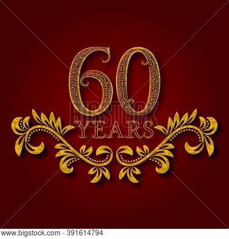 Sixty Years Anniversary Celebration Patterned Logotype. Sixtieth Anniversary Vintage Golden Logo Wit