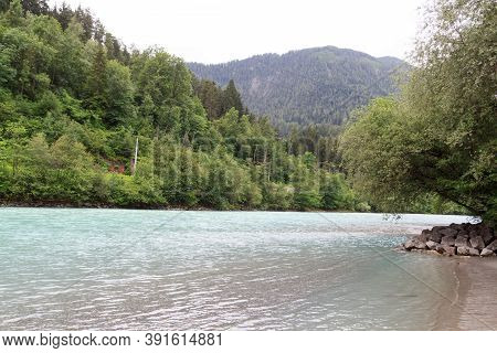 River Inn With Beach And Forest In Tyrol Alps, Austria