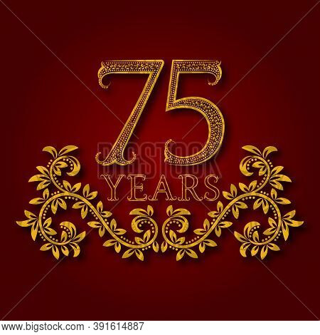 Seventy Five Years Anniversary Celebration Patterned Logotype. Seventy Fifth Anniversary Vintage Gol
