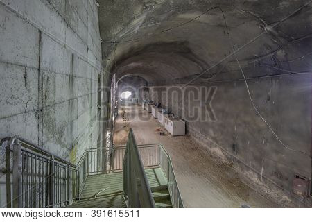 Jerusalem, Israel - October 20th, 2020: An Underground Burial Tunnel Under Construction. This Is One