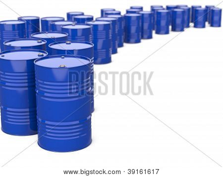 Industrial Background with Blue Barrels. Isolated on white. poster