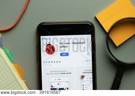 New York, Usa - 26 October 2020: N11.com N11 Mobile App Logo On Phone Screen Close Up, Illustrative