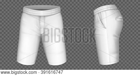 White Shorts For Men Vector Mockup, Male Pants With Pockets And Rubber Band Template Front, Side Vie