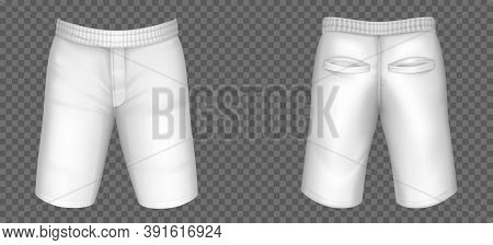 White Shorts For Men Vector Mockup, Male Pants With Pockets And Rubber Band Template Front, Back Vie
