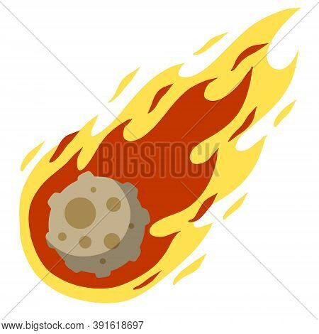Meteor With Trail Of Fire. Big Asteroid. Stars And Astronomy. Celestial Object. Flying In Sky. Carto