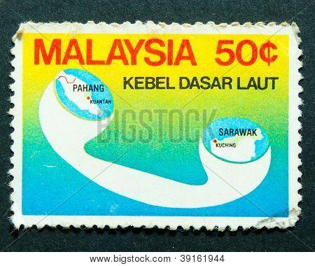Malasia - emitido el 31 de agosto de 1980: un sello impreso en Malasia en conjucntion de Cable submarino