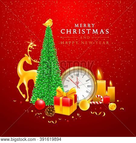Merry Christmas And Happy New Year. Festive Banner Design With Artificial Christmas Tree,  Golden De