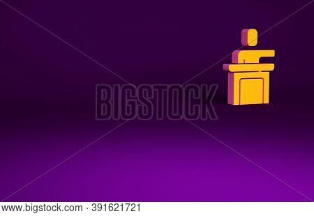 Orange Speaker Icon Isolated On Purple Background. Orator Speaking From Tribune. Public Speech. Pers