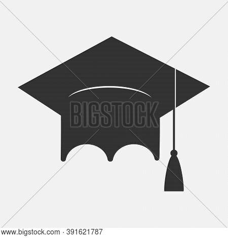 Bachelor Cap Icon, Education Concept, Flat Design, Vector