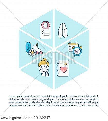 Self Care Concept Icon With Text. Maintain Health. Planning Day. Sporting Activities. Love Yourself.