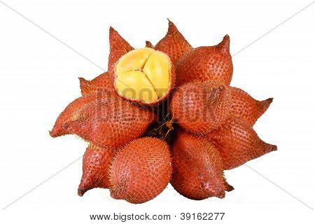 Sala Or Zalacca, Sweet And Sour Fruit From Thailand Isolated On White Background
