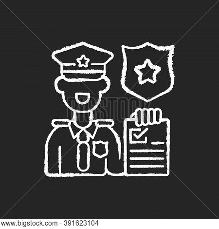 Law Enforcement Chalk White Icon On Black Background. Police Officer. Cop. Sheriff. Maintaining Publ