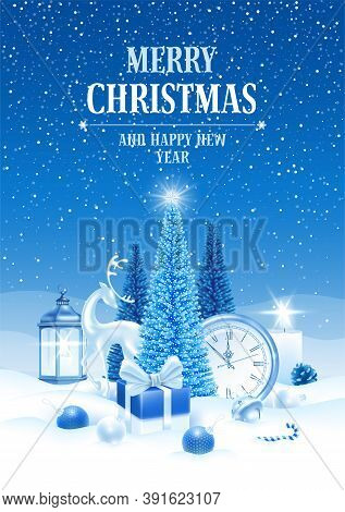 Merry Christmas And Happy New Year. Festive Design With Fluffy Artificial Christmas Trees, Deer Figu