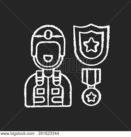 Defence Industry Chalk White Icon On Black Background. Military Officer. Armed Forces. Weapons And M