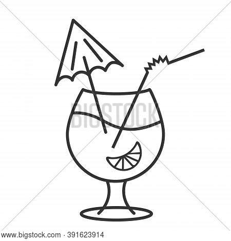 Cocktail Glass Icon, Alcoholic Drink With Decorative Umbrella, Orange Fruit, Editable Outline Illust