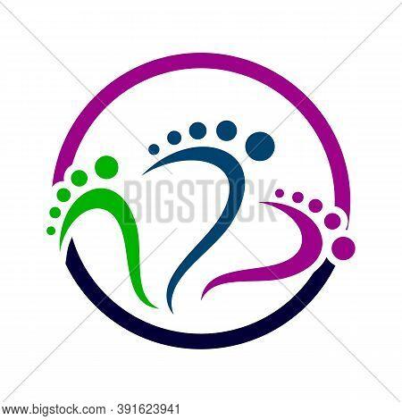 Podiatric Foot Print Foot Care Logo Design Vector Icon Illustration Template