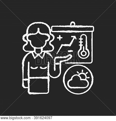 Weather Forecasters Chalk White Icon On Black Background. Meteorologist. Atmosphere Conditions. Baro