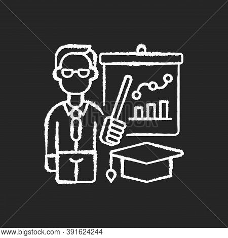 Educators Chalk White Icon On Black Background. Essential Workers. Teachers. Educational Institution