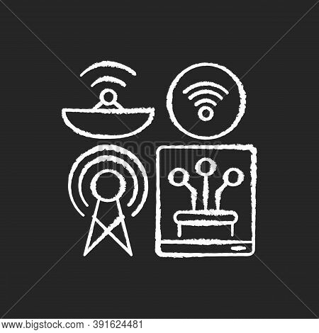 Communications Infrastructure Chalk White Icon On Black Background. Broadcasting. Information Techno