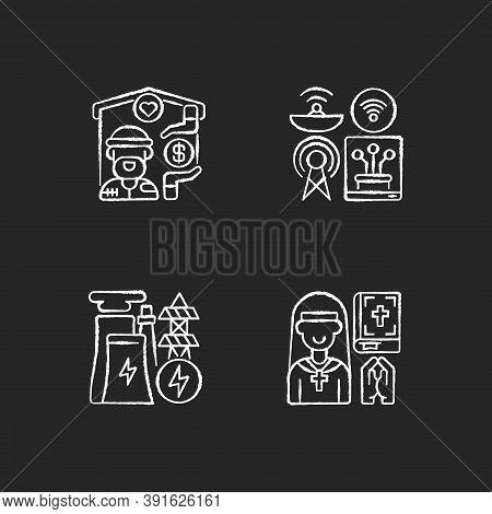 Fundamental Services Chalk White Icons Set On Black Background. Homeless Shelter. Telecommunication.
