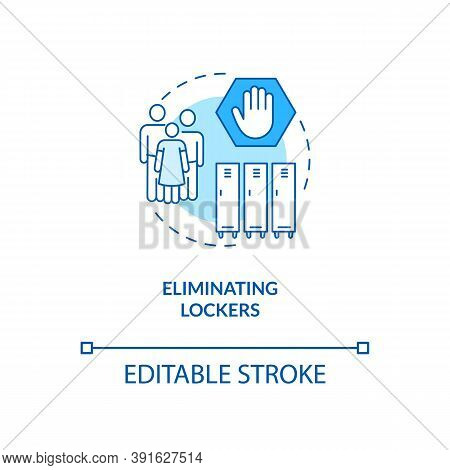 Eliminating Lockers Concept Icon. Covid School Safety Rule Idea Thin Line Illustration. School Hallw