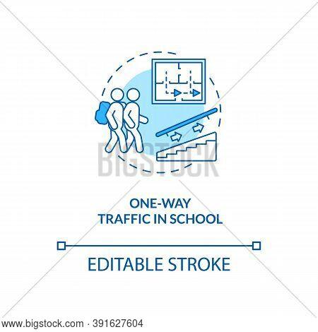 One-way Traffic In School Concept Icon. Covid School Safety Rule Idea Thin Line Illustration. Uni-di