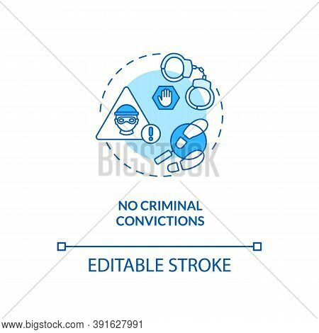 No Criminal Convictions Concept Icon. Online Voting Requirement Idea Thin Line Illustration. Laws Go