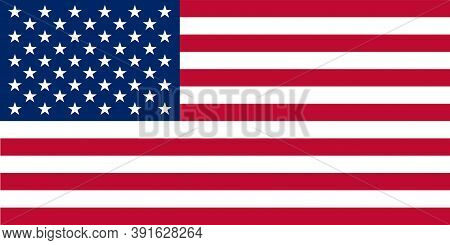 United States Of America Flag. The Correct Proportions And Color. Vector Illustration.