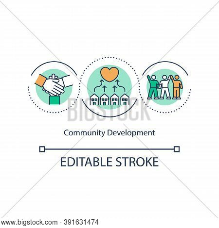 Community Development Concept Icon. Social Change. Collective Action. Economic, Social, Environmenta