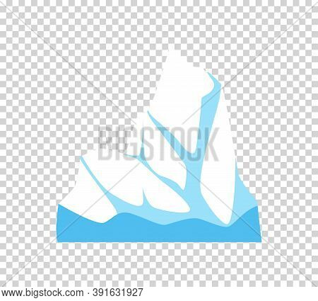 Iceberg. Cartoon Floating Iceberg. Ocean Ice Rock Landscape For Climate And Environment Protection C