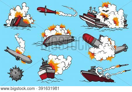 Comic Book Warships Set. Collection Of Ships That Launch Missiles Or Explode. Military Action. Pop A