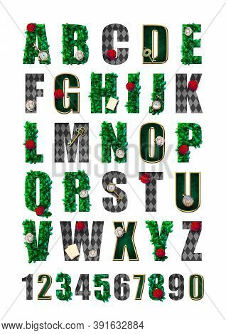Wonderland Alphabet  With Green Leaves, Red Roses And White Roses, Keys, Clock And Cards. Beautiful