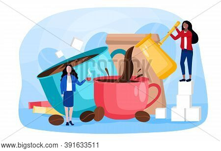 Abstract Concept Of Making Coffee. With Giant Mugs, Cezve And Other Utensils, And Tiny Young Women M