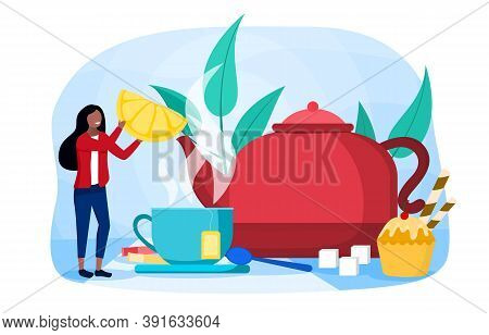 Abstract Concept Of Making Tea. With Sugar Lamps, Giant Mug, Teapot, Other Utensils, And Tiny Young